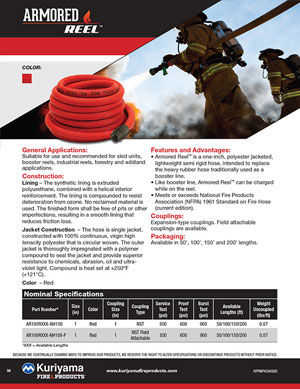 Armored Reel Fire Hose